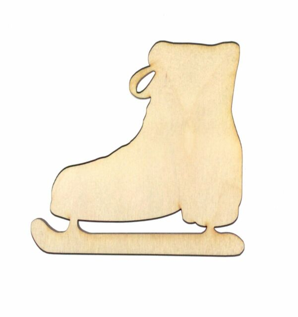 Ice Skate Unfinished Flat Wood Shapes Cut Outs IS3 Variety Sizes Laser Crafts