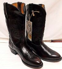 Road Wolf Leather Boots 11W Men's Western Cowboy Boots Black Cherry 1025 $160