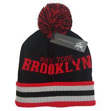 New York Brooklyn CityHunter Pom Beanie Cuff Black/Red Skull Cap