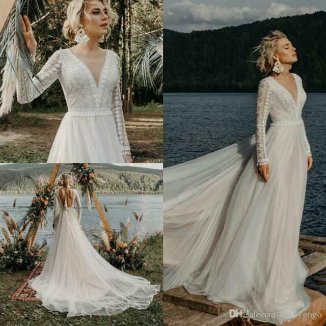 Neu Lager Weiß Spitze Brautkleid Hochzeitskleid Abendkleid Ballkleid Gr 34-44**