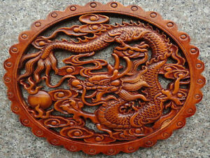 Details about HAND WORK OLD EFFECT XIANG ZHANG SCULPTOR WOOD CARVED DRAGON  WALL PANEL