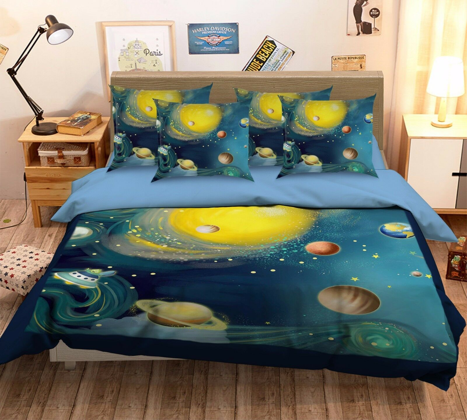3D Space Planet Painting 6 Bed Pillowcases Quilt Duvet Cover Set Single Queen CA