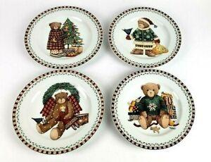 Vintage-Sakura-Debbie-Mumm-Christmas-Bears-Set-Of-4-Salad-Dessert-Plates-8-034