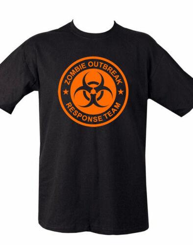 Zombie outbreak t-shirt-différentes tailles-neuf-noir et orange-coton