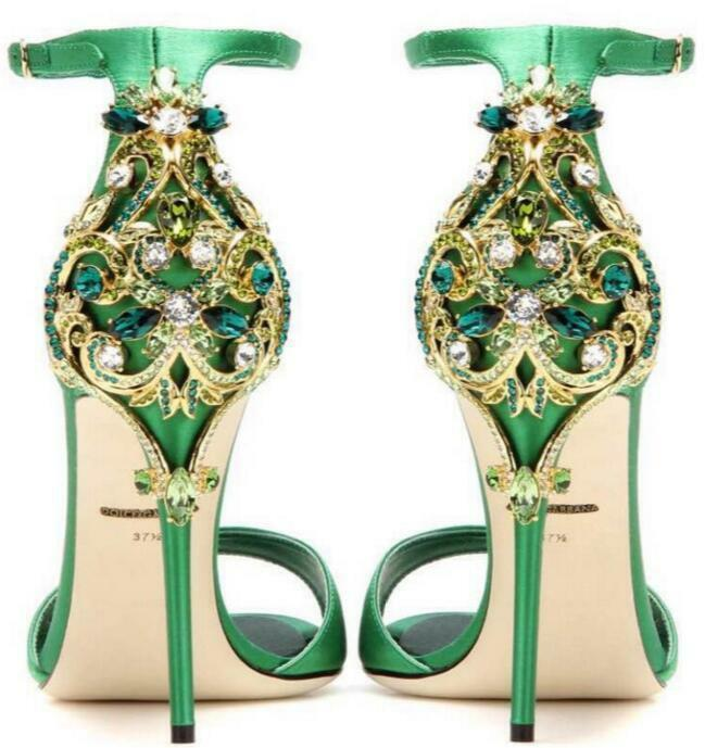 femmes Rhinestones Bridal chaussures Pumps Party Stilettos High Heel Open Toe Sandals