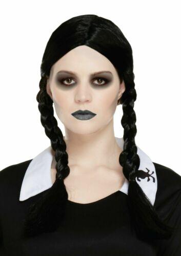Women Black Plait Plaited Wig Addams Family Makeup Lipstick Halloween Fancy Dres