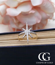 Fine 9ct Yellow Gold & Cubic Zirconia Sparkling Star Ring
