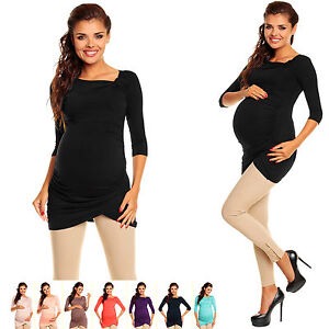 Zeta Ville - Women's Maternity Stretch Tunic Shirt Top with Pleats S-4XL - 995c