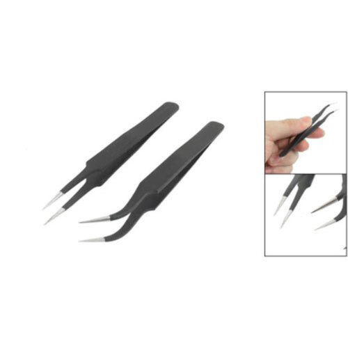 Hot sale New 2Pcs 13cm Length Black Anti-static Curved Tweezers BSG