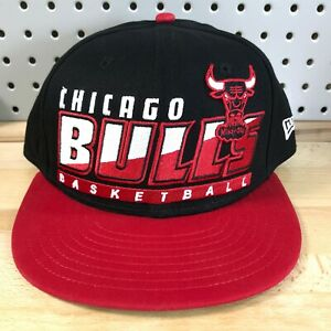 Chicago-Bulls-NBA-Basketball-New-Era-9FIFTY-HWC-SnapBack-Hat-EUC-Black-Cap-OSFA
