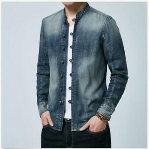 2ea201af64 Mens Chinese Style Jacket Retro Denim Jeans Tang Coat Stand Collar ...