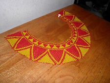 Native American Hand Beaded Collar Seed Bead Necklace Red & Yellow $20 OFF TODAY