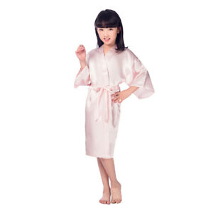 Image is loading Kids-Satin-Kimono-Robe-Bathrobe-Nightgown-Sleepwear-Girl- bf2f01ce9
