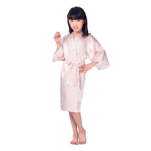 Kids Satin Kimono Robe Bathrobe Nightgown Sleepwear Girl Night Dress ...