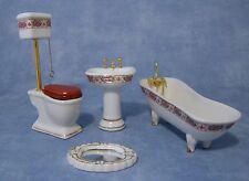 1:12 Scale 4 Piece Ceramic Bathroom Set Dolls House Miniature Accessory 1431