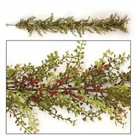 Baby Grass Burgundy Berry Garland Country Cottage Primitive Vine Swag Twig