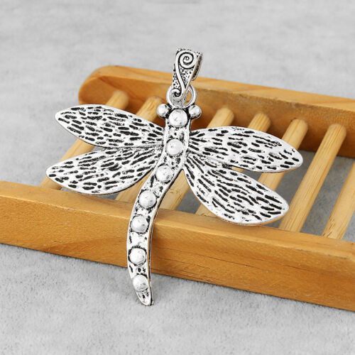 2Pcs Large Antique Silver Dragonfly Insect Charms Pendants Jewelry Making Beads