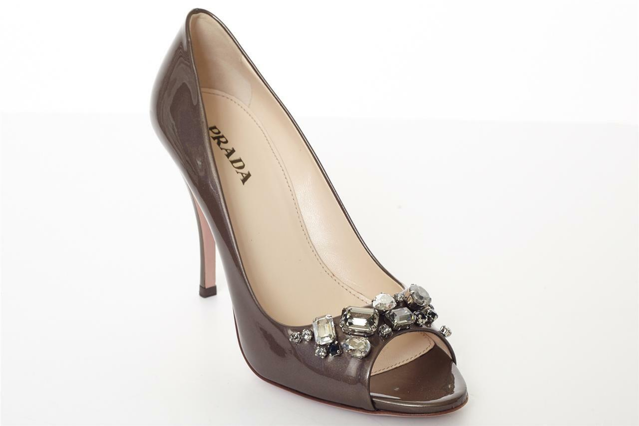 PRADA Taupe Patent Leather High Heel JEWELED Peep-Toe Pump Sandal 9.5-39.5 NEW