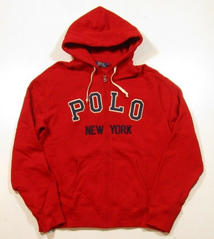 Polo Ralph Lauren Big & Tall Uomo's rosso Full Full rosso Zip Embroiderosso Polo Nuovo York Hoodie c50226