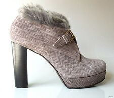 new $445 STUDIO POLLINI gray suede suede fur trim buckled ANKLE BOOTS Shoes 38 8
