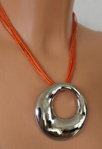 NEU-Damen-Hals-Kette-Collier-Modeschmuck-silberfarben-orange-Blogger-Trendkette