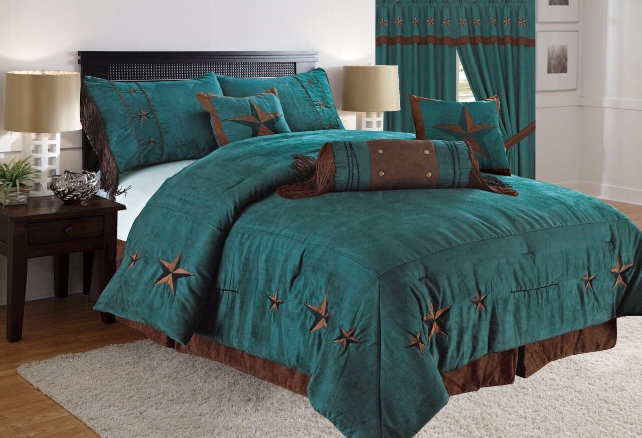 Rustic Turquoise Embroidery Texas Star Western Luxury Comforter - 7 Pc Set
