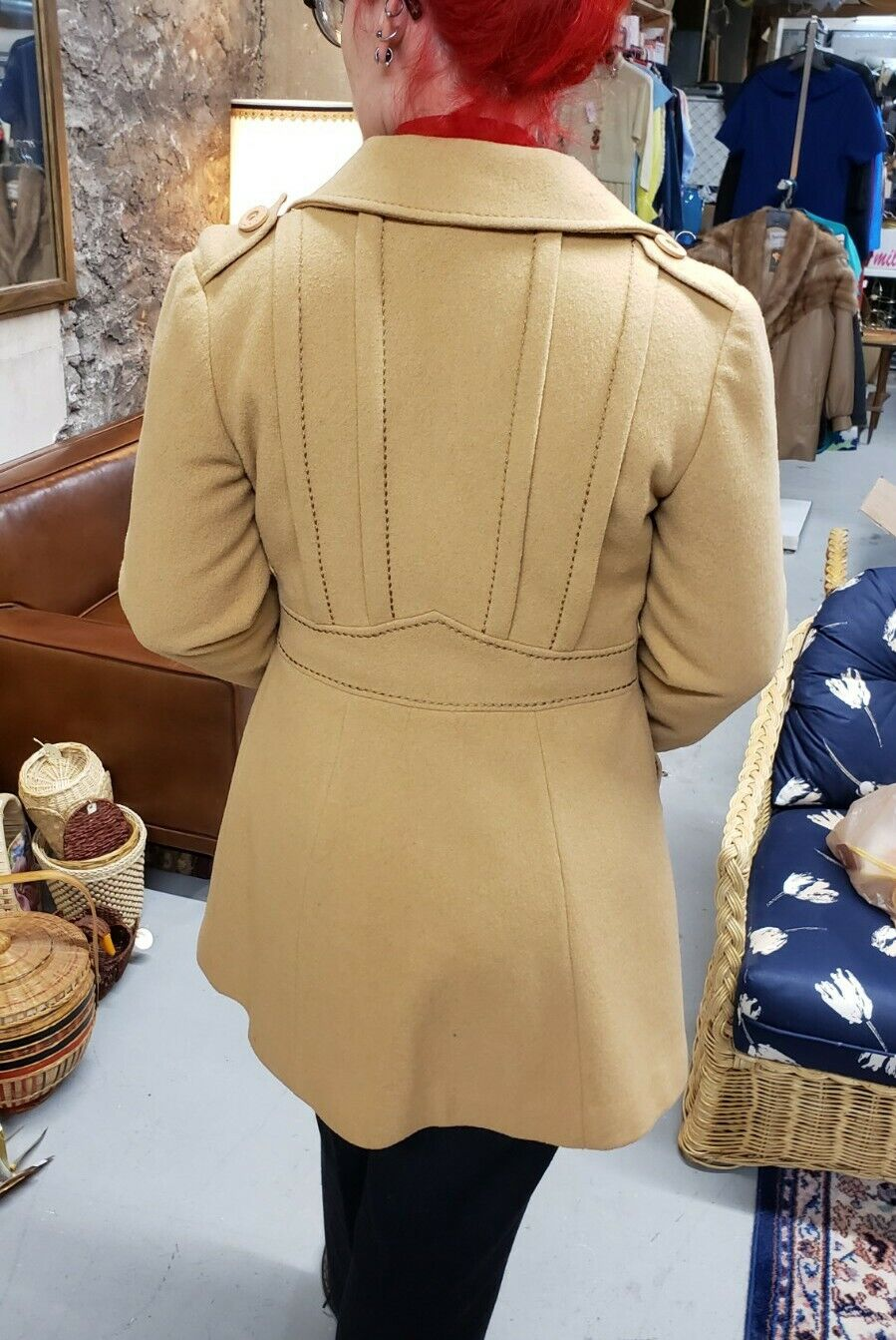 Vintage 70s country Pacer wool camel western prin… - image 1
