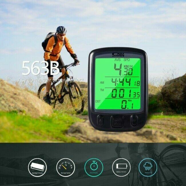 Waterproof Digital LCD Cycle Computer Bicycle Bike Odometer Speedometer Cycling