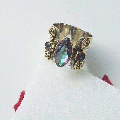 Mystic Topas pink grün lila gold Design Ring, Ø 19,0 mm 925 Sterling Silber neu