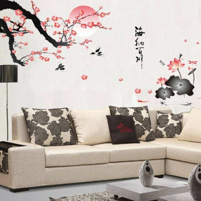 Chinese Red Plum and Lovely Lotus Removable Home Decal Room Wall Sticker New