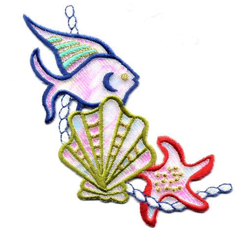 Tropical Starfish Seashell Fish Shimmering Embroidered Patch Beach