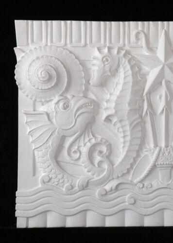 Plaster Plaque,Hand Made,Orlandini Sea Theme-Sea Horse