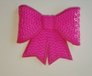 Neon pink d sequin bow hotfix iron on motif patch lace xmas