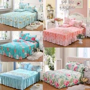 1 Pcs Romantic Bloom Pattern Bed Skirt Matte Non Slip Dust Ruffle