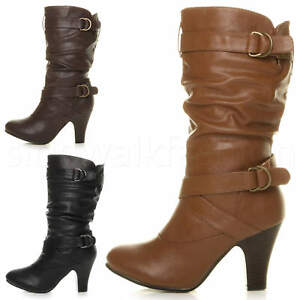 ea8072e012d0 Womens ladies mid high heel buckle zip ruched slouch western calf ...