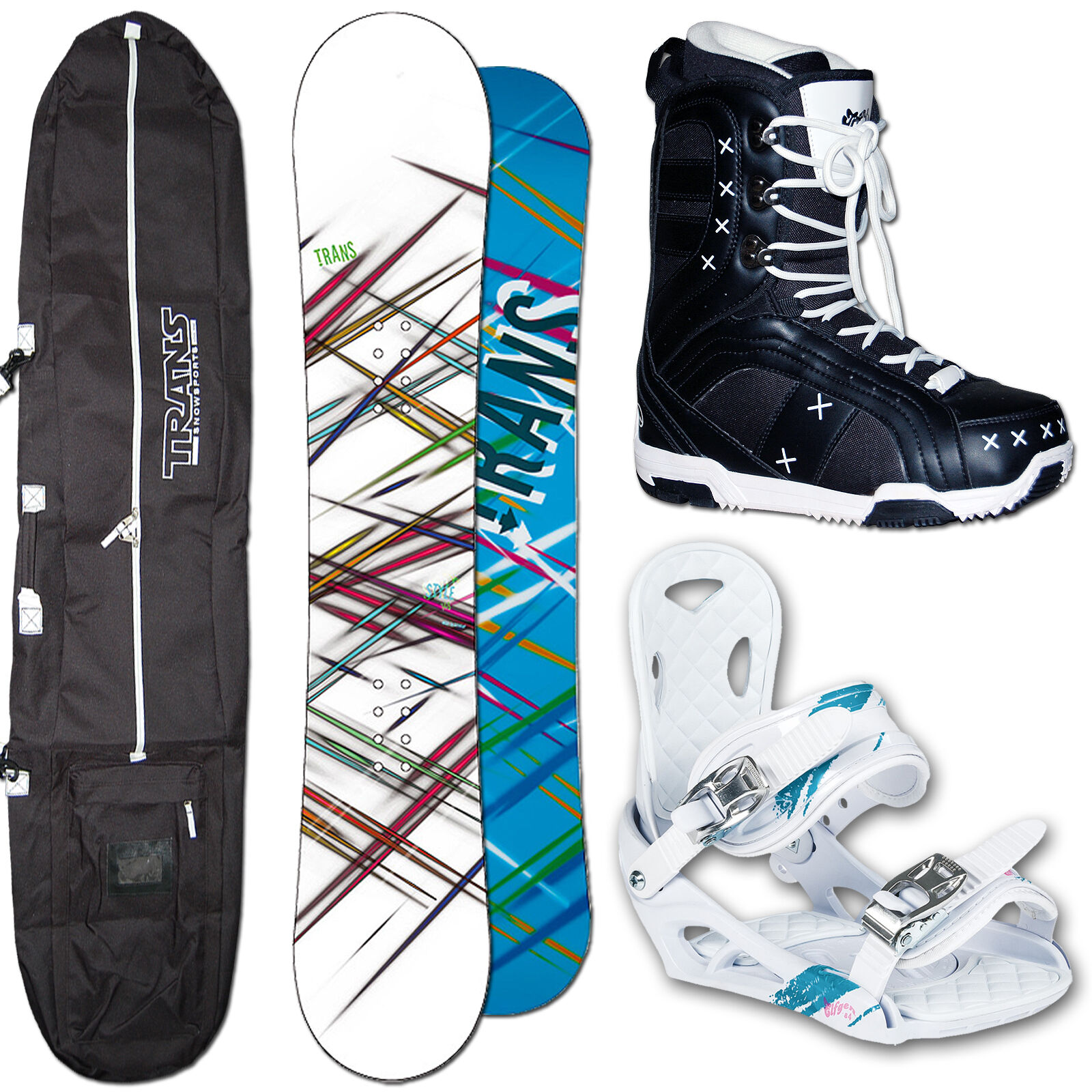 Trans-style femmes snowboard 156 cm + eleven eco genetics liaison m + sac +