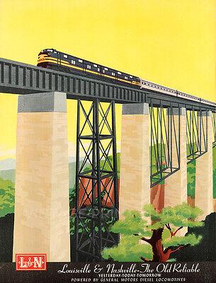 Louisville Nashville American Railroad Vintage Travel Giclee Canvas Print 20x26