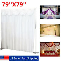 79 X 79 White Background Backdrop Drape Sheer Curtain Swag Wedding Party Stage