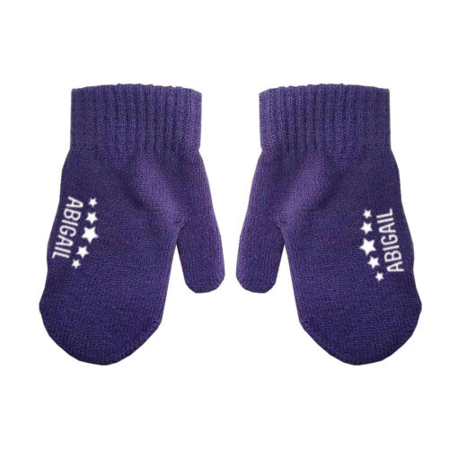 Personalised Name Stars Baby Toddler Kids Boys Girls Winter Mittens Gloves D4