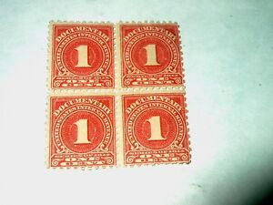 Details about 1914 U S  1 CENT INTERNAL REVENUE BLOCK OF 4 STAMPS-UNUSED-O  G-N H