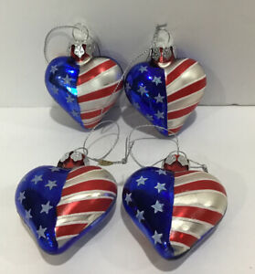 Set Of 4 Patriotic Flag Heart Glass Christmas Ornaments Red White Blue Silver Ebay