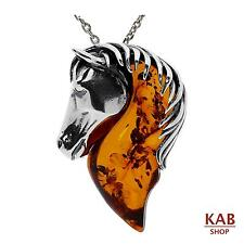 COGNAC BALTIC AMBER STERLING SILVER 925 BEAUTY HORSE PENDANT, KAB-225