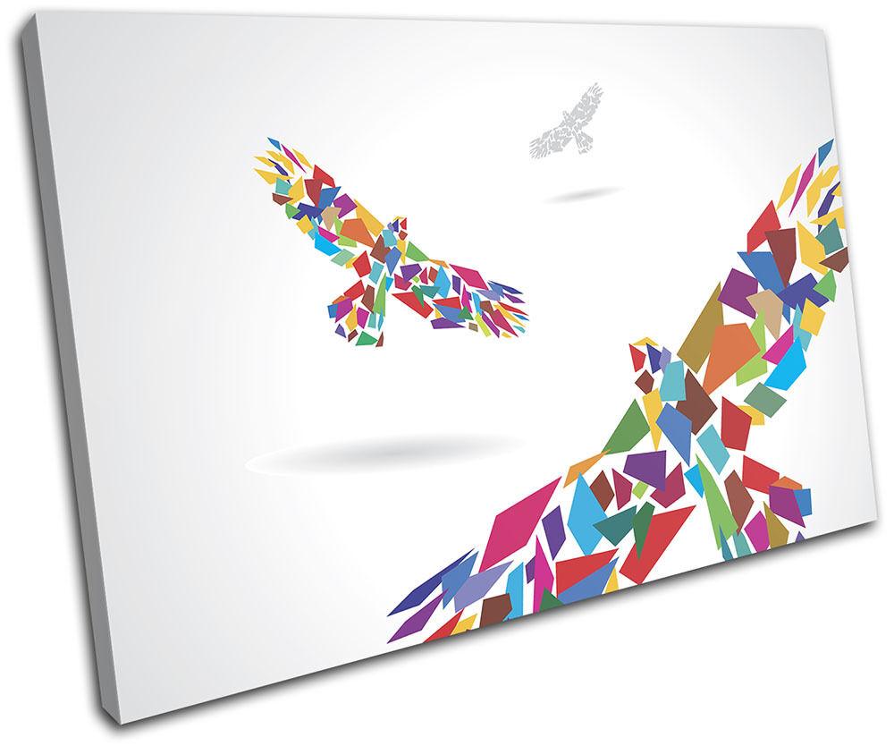 Birds Colourful Geometric Abstract SINGLE TELA parete arte foto stampa