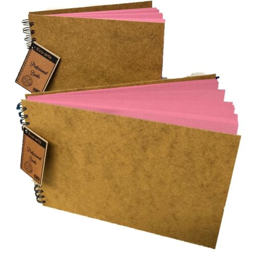 BRIGHT PINK wooden hardback cover scrapbook pad wirobound sketch book craft arts