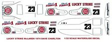 #23 Dave Charlton Lucky Strike McLaren M23 1974 F1 1/32nd Scale Slot Car Decals