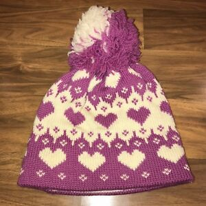 7e7148385bc47 Vtg 70s 80s Womens HEART Big Pom Ball SKI Beanie Cap Snow Hat ...