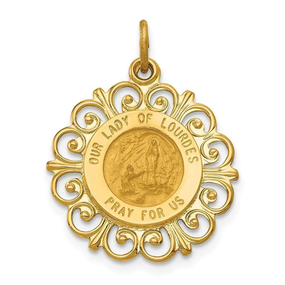 14K Yellow gold Our Lady Of Lourdes Medal Pendant