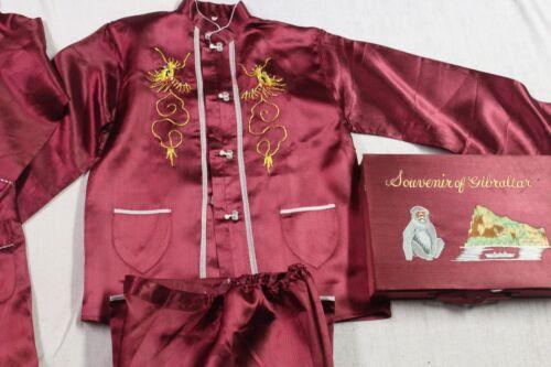 silk satin vintage Japanese full pajama set deep r