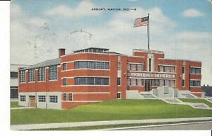 Postcard Evansville Indiana National Guard Armory Linen