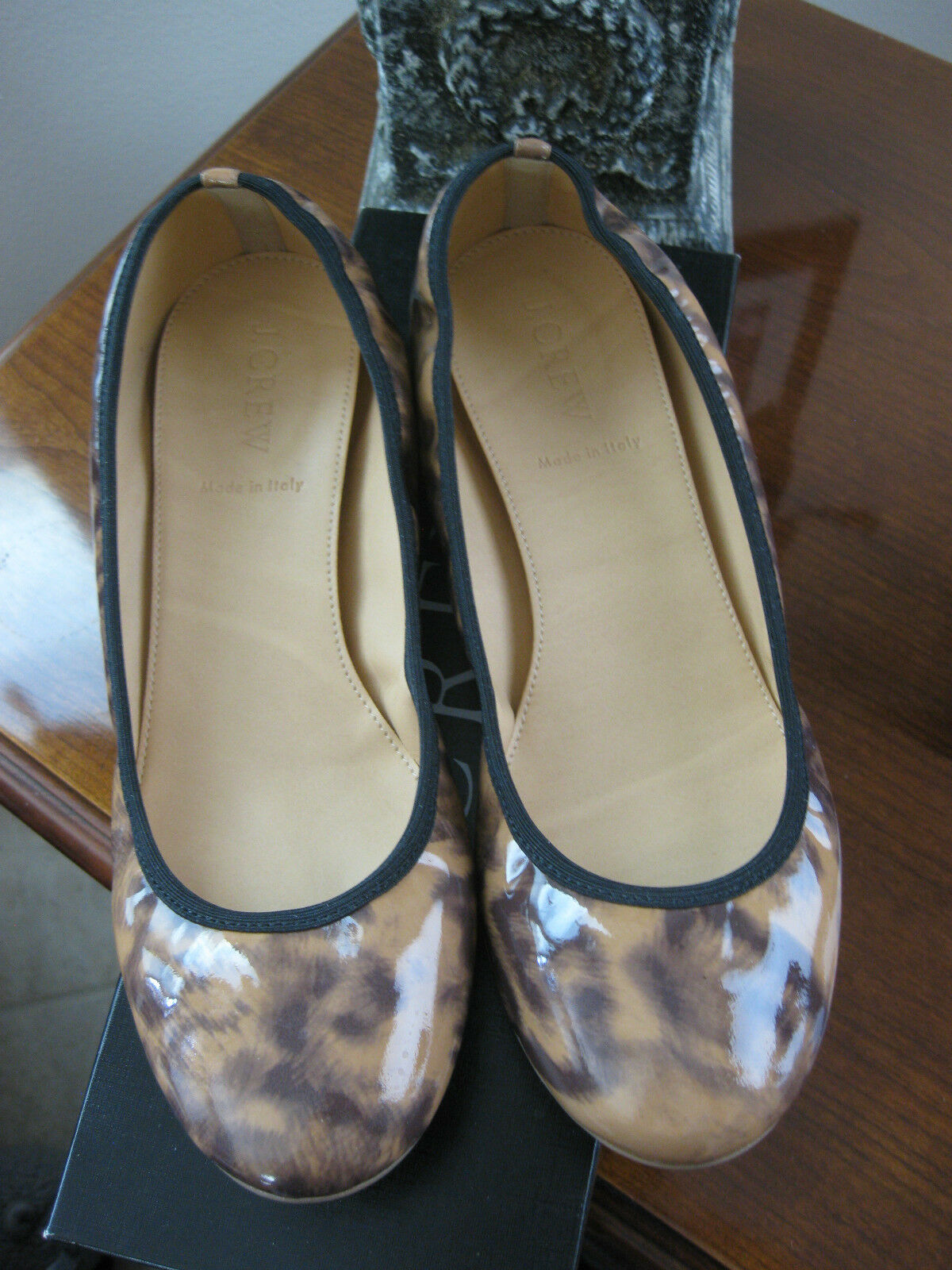 JCREW PRE-OWNED LULA LEOPARD BALLET FLATS PATENT LEATHER   49183 SIZE 7